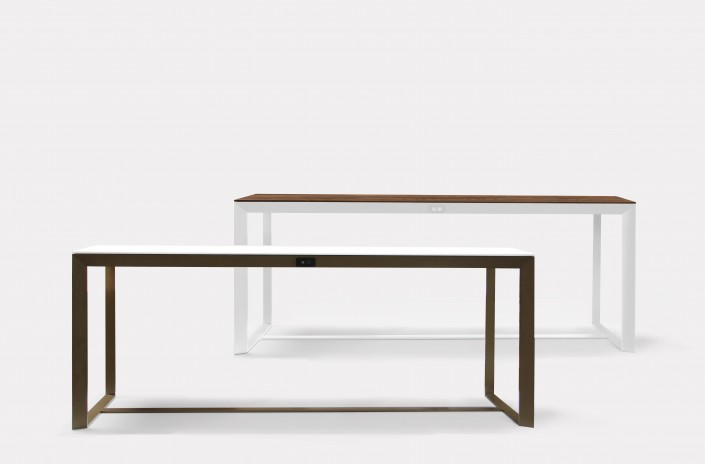 Lutta Lutta communal tables in Bronze and Sugar powder coats, and with Solid Surface and Walnut Veneer tops